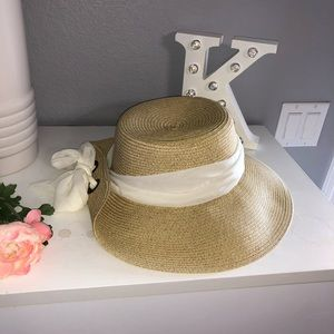 New summer, straw hat with white scarf